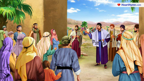 The Pharisees stopping the people from hearing Jesus' preaching