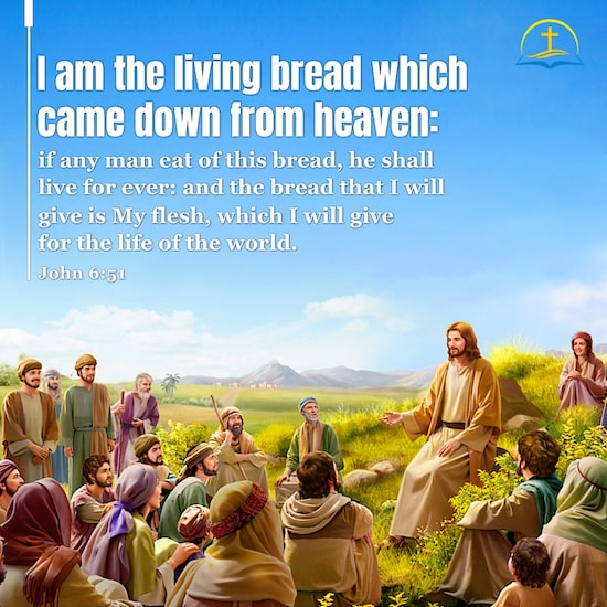 John 6:51 - Bible Verse Image About - Living Bread