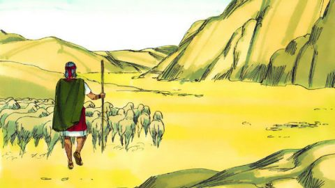 Moses shepherding in the wilderness for 40 years