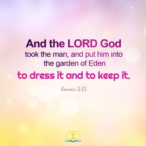 Genesis 2:15 - God Put Adam into the Garden of Eden, Daily Bible Verse