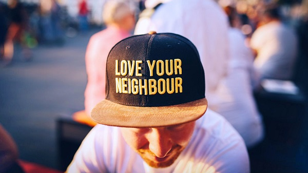 cap hat with words love your neighbour