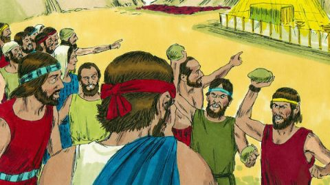 a great many Israelites wanted to stone Joshua and Caleb to death