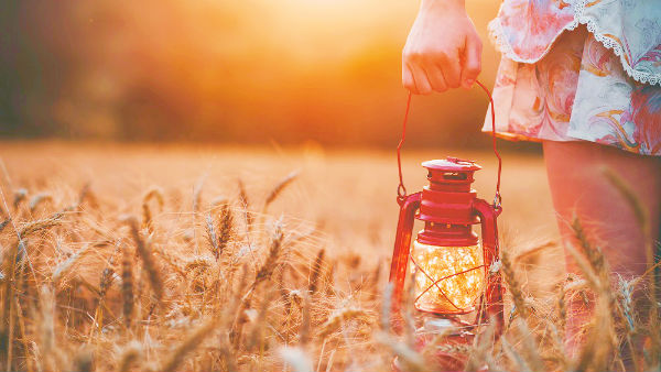 a girl holding oil lamp in wheat field