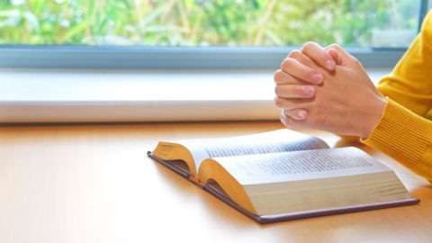 the word of God opening and praying hand