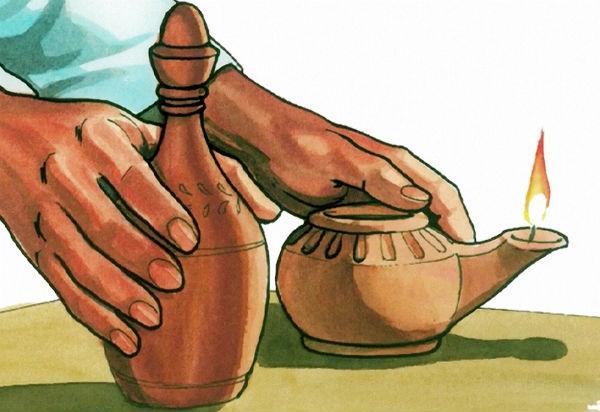 wise virgin prepares oil