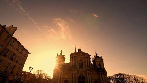 Church under the setting sun