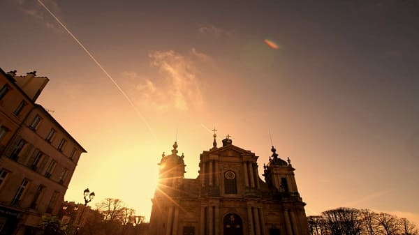 church under the setting sun