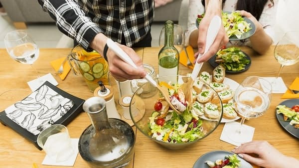 Salad dishes on table