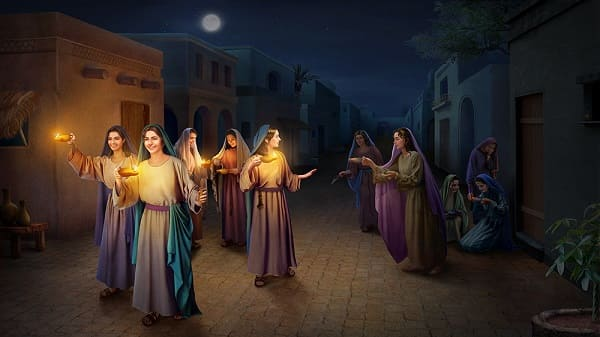 The parable of the wise virgins going to the feast