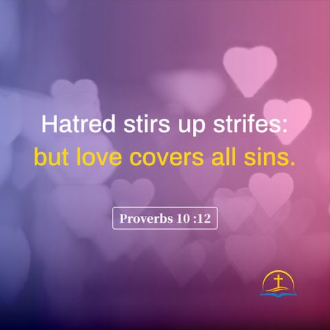 Proverbs 10:12 - Bible quote image about the effect of love