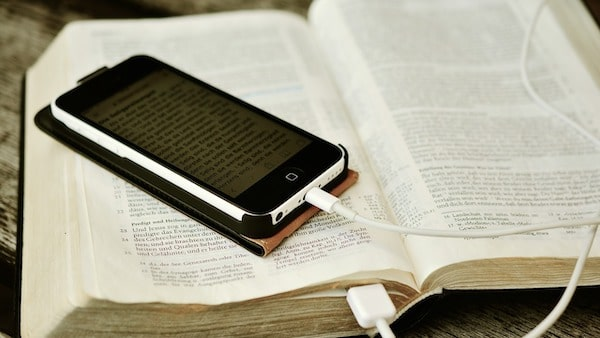 Phone on Bible book